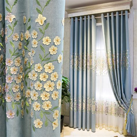 Beautiful grommet floral embroidered window curtains