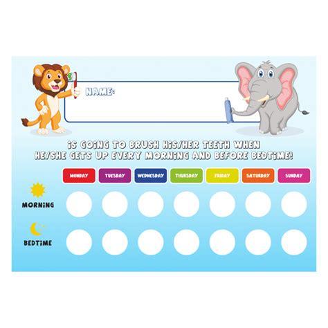 printable tooth brushing reward chart kids a4 tooth brushing schedule reward chart with stickers
