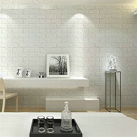 wallpaper sticker dinding 3d sticker wallpaper dinding 3d embosed model bata white