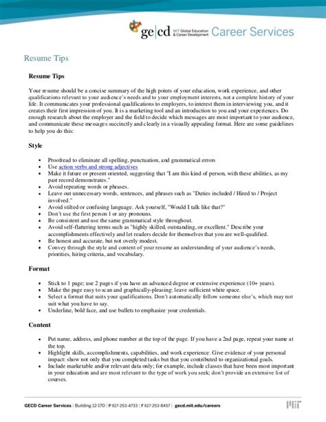 Resume Tips In Resume Tips And Sles
