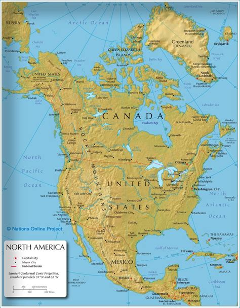 map shows  states  north america canada usa
