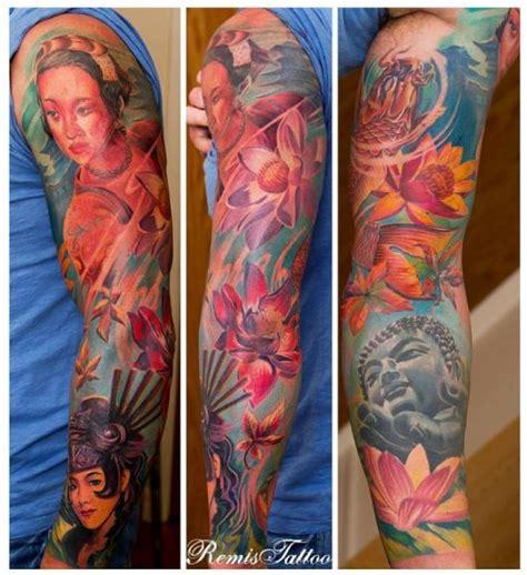 geisha tattoo znaczenie tatuaż kwiat japoński budda gejsza rękaw przez remis tatooo