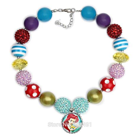 wholesale price 1pcs princess ariel chunky necklace