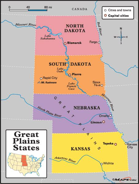 plain map of united states great plains states map by maps from maps world