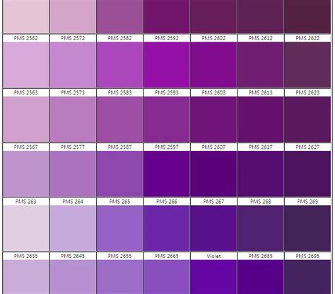 shades of purple chart 8 best images of shades of purple chart name shades