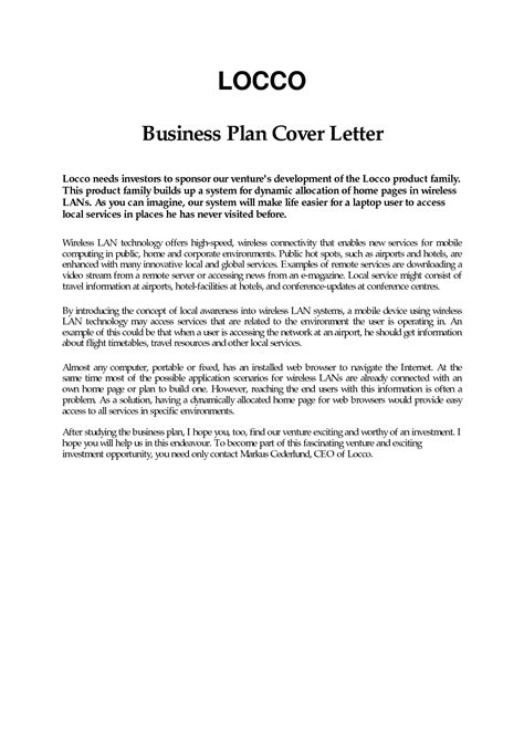 Cover Letter For Business Plan business plan cover letter sle free exle page