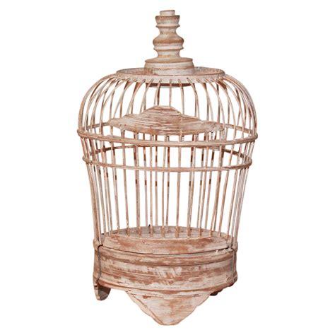 Handmade Bird Cage - 25cm wooden decorative bird cage white wash shabby chic