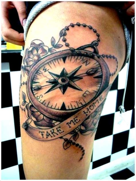 compass tattoo on thigh compass tattoos page 7