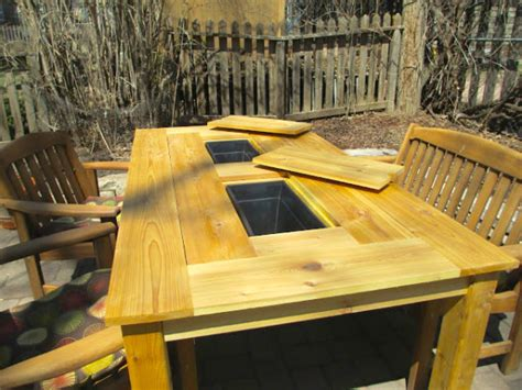 bbq grill picnic table picnic table plans with built in cooler littlethings