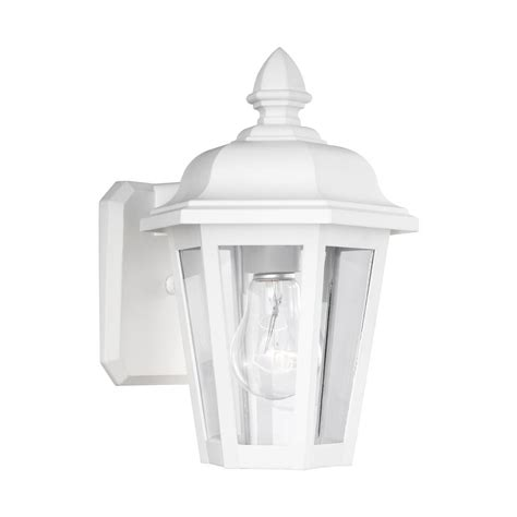 home depot white outdoor wall lighting sea gull lighting brentwood 1 light white outdoor wall