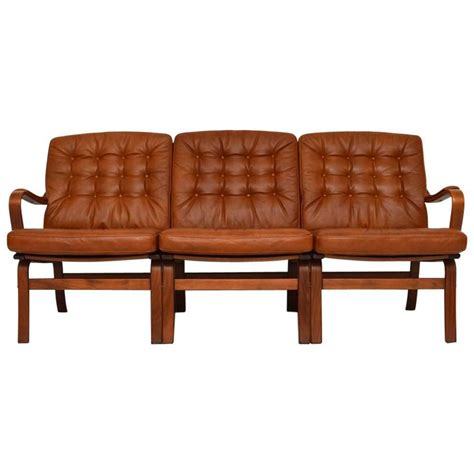 Danish Retro Leather Bentwood Sofa Vintage 1970s For Sale Leather Retro Sofa