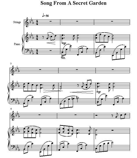 piano sheet song from a secret garden www