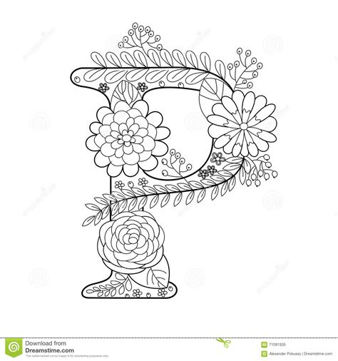 coloring book vector letter p coloring book for adults vector stock vector