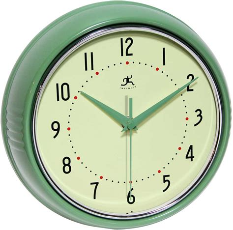 the retro green wall clock by infinity instruments metal