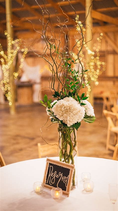 hydrangeas and curly willow branches centerpiece