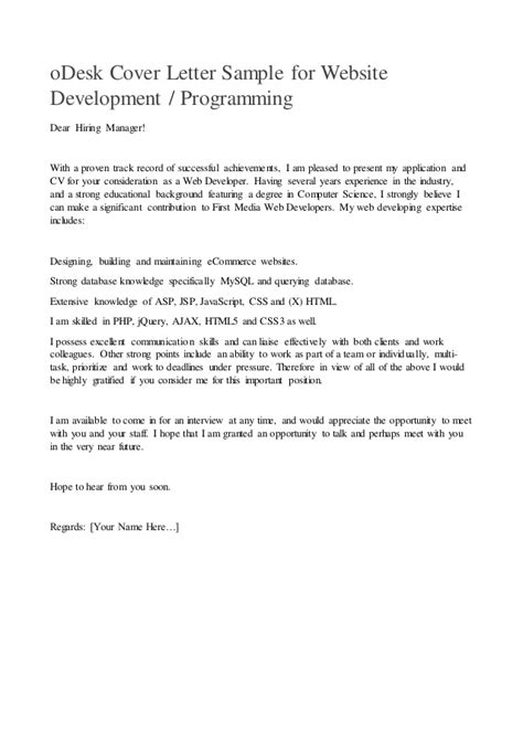 odesk cover letter odesk cover letter sle for website development or