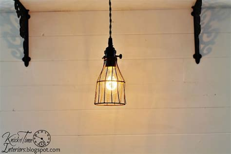 Vintage Industrial Cage Pendant Work Light With Twisted Cloth Industrial Cage Work Light Chandelier