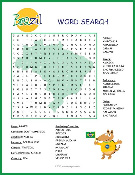 printable word search geography brazil activity brazil geography word search word