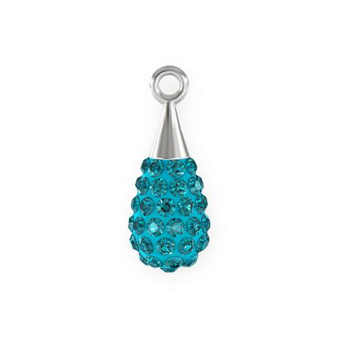 swarovski drop swarovski 14mm aquamarine rhodium plated pav 233 drop pendant