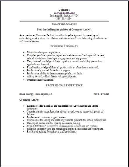 sle of resume for ojt computer secretarial computer analyst resume occupational exles sles