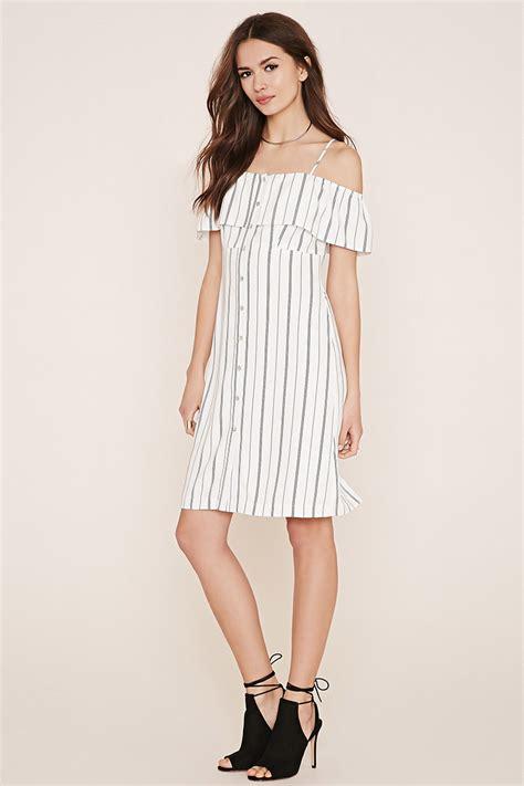 Lvfq Dress Stripe Black forever 21 contemporary striped dress in white ivory black lyst