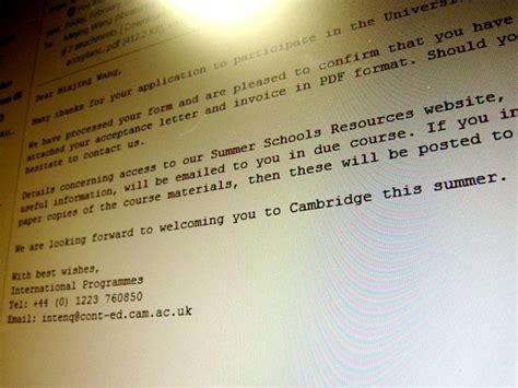 Acceptance Letter Cambridge Acceptance Letter From Cambridge Rendezvous