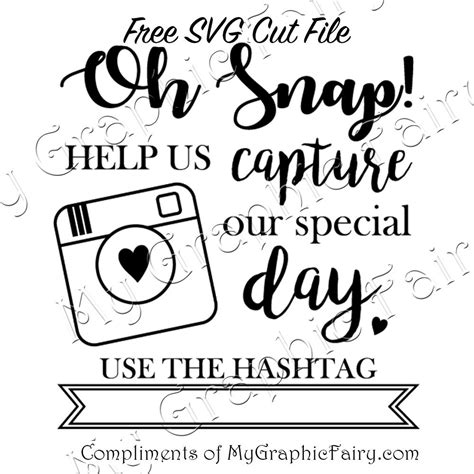 snap wedding hashtag svg file  graphic fairy
