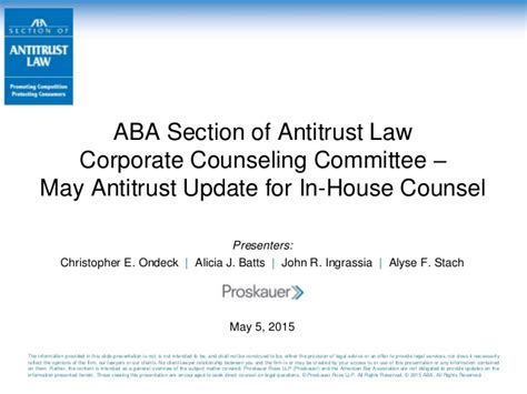 Proskauer Antitrust Update For In House Counsel