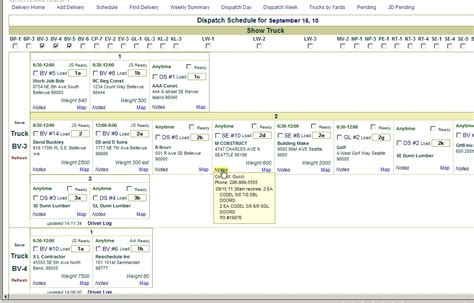 dispatch schedule template delivery scheduling and dispatch cm web development