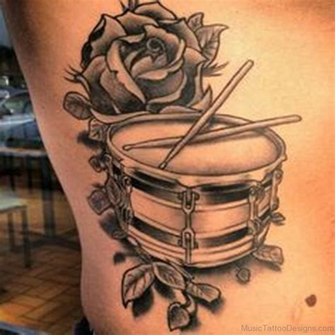 rose music tattoo 50 drum tattoos