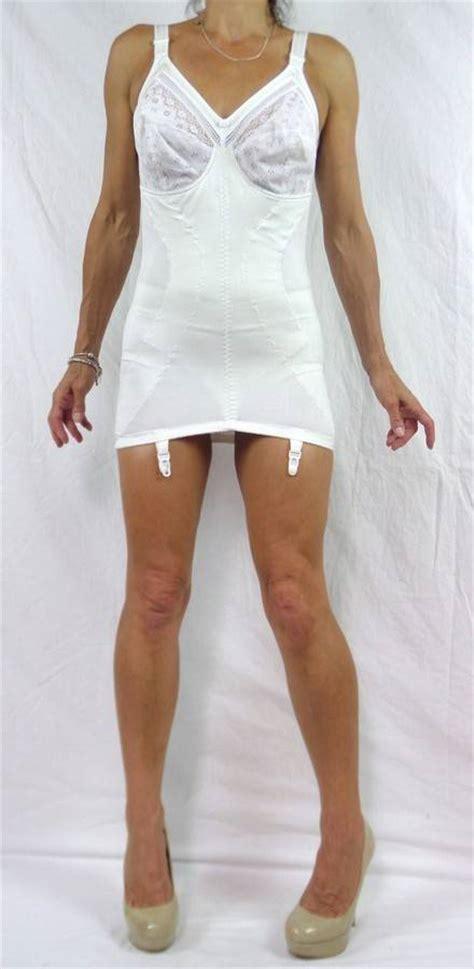 girdles with suspenders vintage retro white corselette open bottom girdle