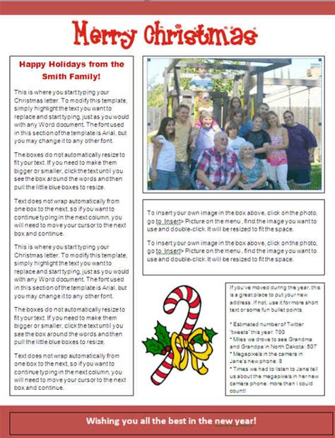 christmas newsletter template candy cane files