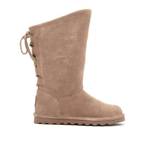 hsn boots bearpaw 174 phylly suede laced back boot with neverwet