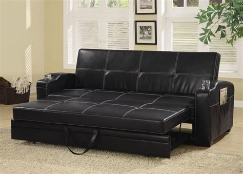 sofa bed 2 in 1 faux leather sofa bed with storage and cup holders from
