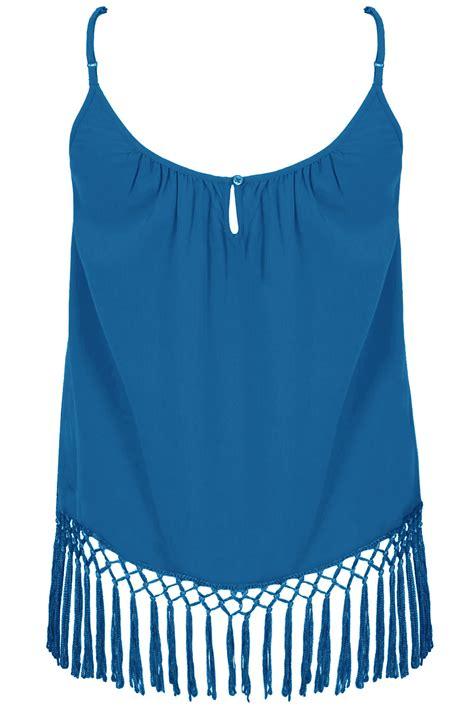 Hem Blus blue lightweight cami vest top with fringed hem plus size