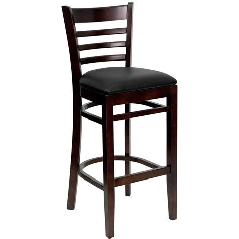 Wood Bar Stool With Back Flash Furniture Xu Dgw0005barlad Wal Blkv Gg Ladder Back Walnut Wood Bar Stool With Black Vinyl