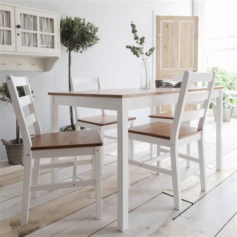 White Kitchen Furniture Sets White Wooden Dining Table And 4 Chairs Set Ebay