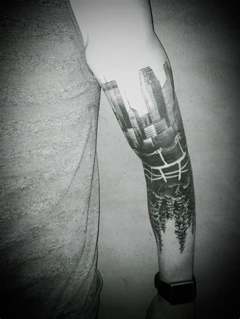 fence tattoo minneapolis city skyline with reversed out power lines and