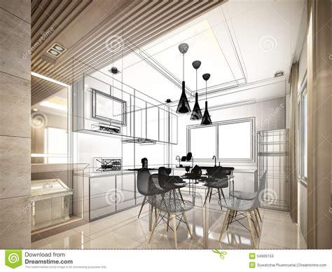 sketch interior design abstract sketch design of interior kitchen stock