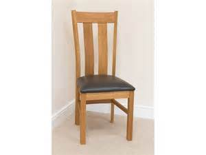 Oak Dining Room Chair Churchill Oak Chairs Brown Leather Seat Pads