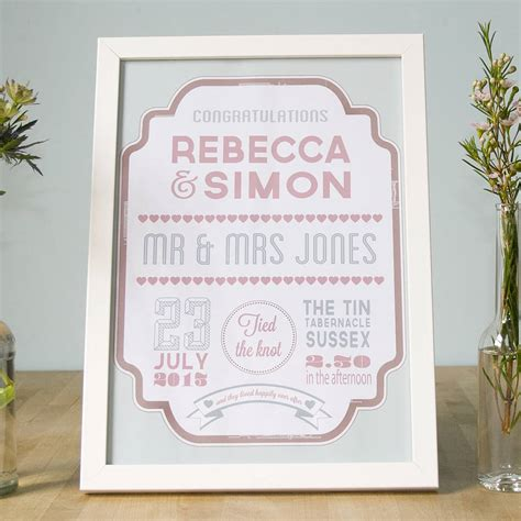 Wedding Prints by Personalised Wedding Day Print By Wedding In A Teacup