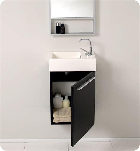 "Fresca Pulito 16"" Small Black Modern Bathroom Vanity with"