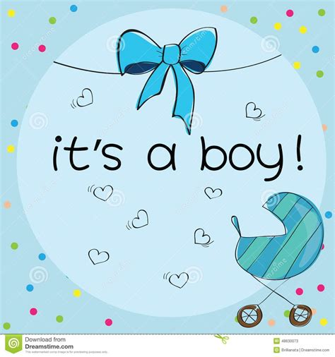 baby boy theme baby card its a boy theme stock vector illustration of