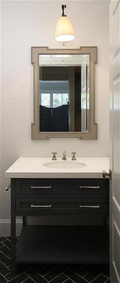 gray powder room mirror transitional bathroom