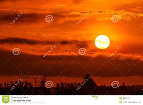 warm orange rising sun in the morning stock photo image 45559494