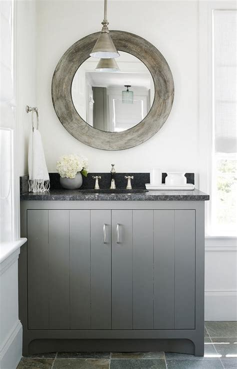 charcoal gray bath vanity  black marble countertop