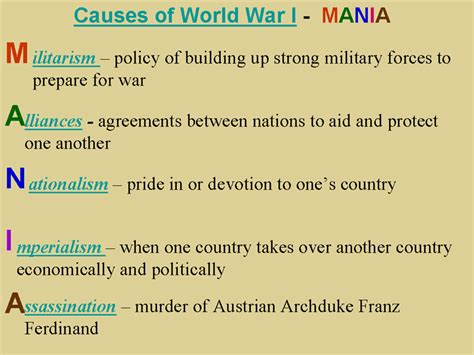 Nationalism World War 1 Essay by These Are The Four Causes For The Start Of Ww1 The Assassination Was Added Because It Was