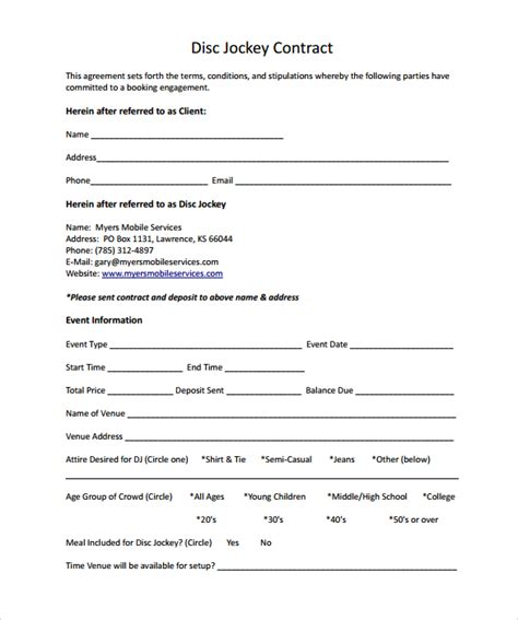 simple agreement template dj contract 12 documents in pdf