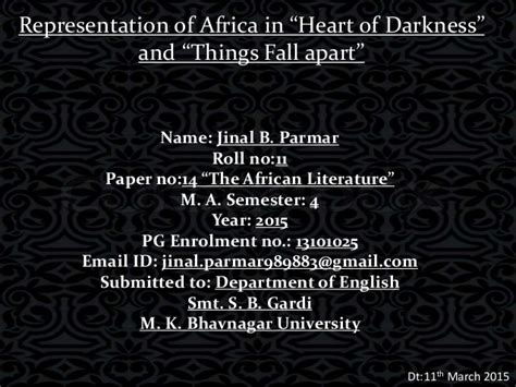 theme of heart of darkness slideshare representation of africa in quot things fall apart quot and quot heart