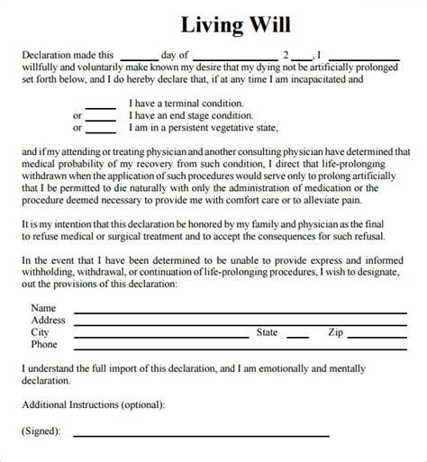 sample living wills  sample templates